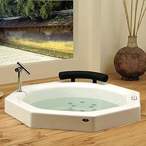 Neptune Nagano Octagon Extra Deep Japanese Whirlpool Bath Tub 40 x 40 x 36 3/4 NA40T White