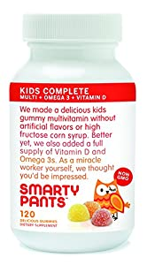 SmartyPants Kids Complete Gummy Vitamins: Multivitamin + Omega 3 DHA / EPA Fish Oil, Vitamin D3, B12 (Methylcobalamin), 120 count