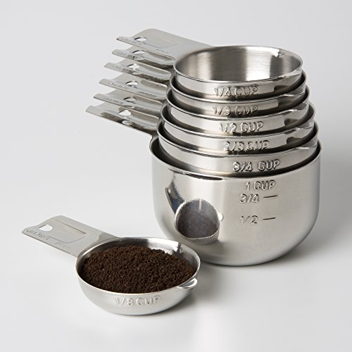 Measuring Cups 7 Piece with New 1/8 cup (Coffee Scoop) by KitchenMade-Stainless Steel-Nesting set. (Coffee Cup Metal Bottom compare prices)