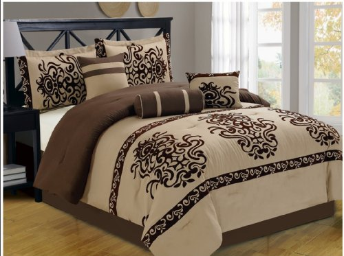 Fancy Linen 7-Piece White With Black Floral Flocking Comforter Set Bed-In-A-Bag For Queen Size Bedding (Beige/Brown) front-836310