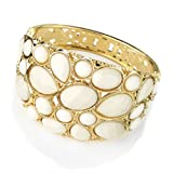 Bead Hinged Fashion Bangle Gold & White Ivory