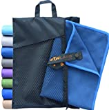 Sunland Microfibre Ultra Compact & Fast Drying Travel Towels (Dark Slate Blue, Set:1pc 80cmx150cm towel+1pc 40cmx80cm towel)