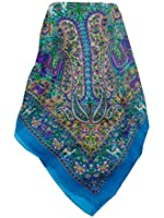 100% Silk Scarf Square Traditional Sarnath Pattern in Sky by Pashmina & Silk BUY ANY 3 LONG OR SQUARE TRADITIONAL PATTERN SILK SCARVES FOR £39
