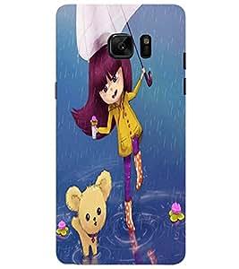 PrintVisa Cute Cartoon Rainy Girl 3D Hard Polycarbonate Designer Back Case Cover for SAMSUNG GALAXY NOTE 7