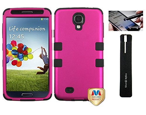 Samsung Galaxy S4 Pink Protective Sports Armor 2 Layer Cover Case With Screen Protector, Momiji® Stylus Pen