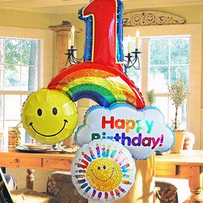 即日発送対応 誕生日 バルーンギフト【 Luckyナンバー オーバー・ザ・レインボー 】 1歳 ヘリウムガス入り3個 (数字1)