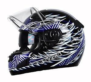 Vega Attitude Full Face Snowmobile Helmet with Fierce Graphic (Blue, Medium)