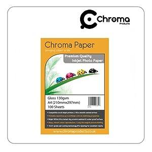 Chroma - A4 Glossy Inkjet Photo Paper - Premium Grade 130gsm (100 Sheets 2 x 50 Packs)