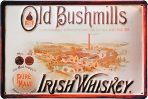 lemax-targa-in-alluminio-con-scritta-old-bushmills-irish-whiskey-stile-art-deco-110-x-80-mm
