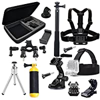 MCOCEAN 14-in-1 Accessories Kit for Gopro Hero 4 Session Black Silver Hero+ Lcd 3+ 3 2, GeekPro 2.0 3.0 4.0 - Selfie Stick / Head Strap / Chest Mount / Floating Grip / Suction Cup