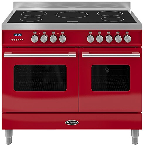 Britannia RC-10TI-DE-RED Delphi 100cm Tw Induction Range Cooker Gloss Red