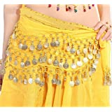 OPCC Belly Dance Hip Skirt Scarf Wrap Belt costume with Rows Gold Coins