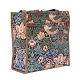 Signare Fashion Canvas/Tapestry Shopping Bag/Tote Bag/ Shoulder Bag/ Box Bag/ Carry All Bag In Strawberry Thief...