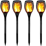 Gold Armour Solar Lights Outdoor Upgraded - Flickering Flames Torch Lights Solar Light - Dancing Flame Lighting 96 LED Dusk to Dawn Flickering Tiki Torches Outdoor Waterproof Garden (4Pack) (Color: 4Pack, Tamaño: 4Pack)