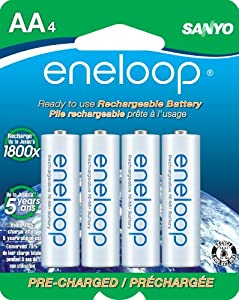 eneloop AA 1800 cycle,  Ni-MH Pre-Charged Rechargeable Batteries, 4 Pack