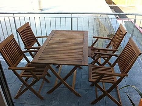 5 teilige Sitzgruppe 4 Stuhle 1 Tisch Gartenmöbel Holz Gartentisch Esstisch Sitzgarnitur 98490