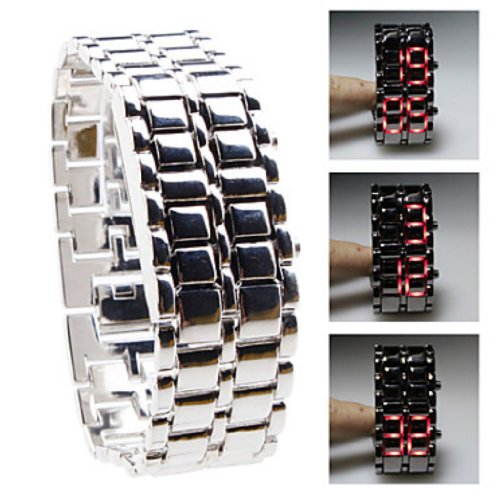 Soleasy Slivery Metal Strip Digital Lava Style Iron Sport Men Red Led Faceless Wrist Watch Wth0382