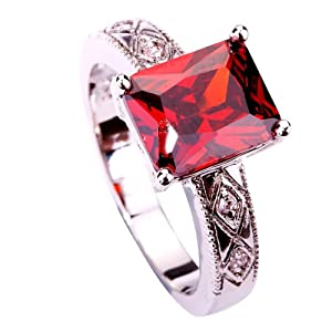 Amybria Jewelry Women's Emerald Cut Garnet & White Topaz Gems Ring Silver Size T 1/2