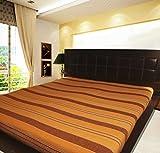 Khrysanthemum Handloom Woven Cotton Bedcovers - 90 x 100 inches, Orange Brown