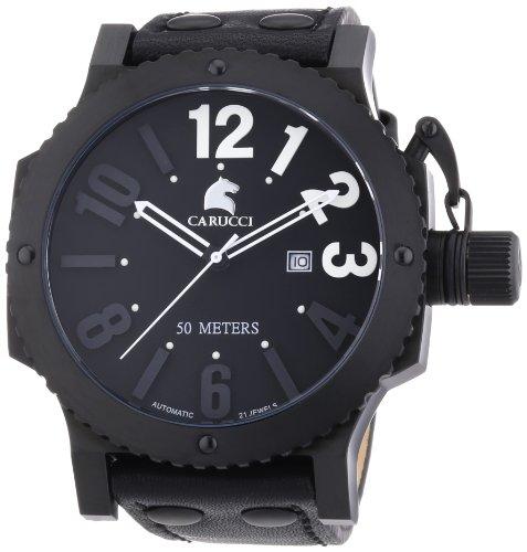 Carucci Watches CA2211BK-WH - Reloj de pulsera hombre, piel, color negro
