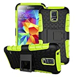 Galaxy S5 Mini Phone Case, Hongqing Shop 2 in 1 [Shock Absorption] [Anti-Slip] [Scratch Resistant] Durable Tough High Impact Hybrid Black Tire Textured Reinforced PC Hard Heavy Duty Armor Shell Combine Muiti-color Option Soft TPU Cover Case with Built-in Kickstand, Slim Fit for Samsung Galaxy SV Mini 4.5 Inch Screen, Carrier Compatibility Verizon, AT&T, T-Mobile, Sprint, International Carriers (Green)