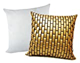 GOLDEN LEATHER BRICKS CUSHION WITH FILLER 2 PCS SET (40 X 40 CMS)