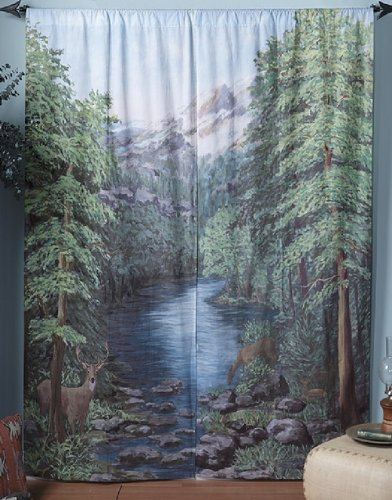 LANDSCAPE CURTAINS WINDOW ART MURALS 2 WOODLAND CROSSINGS PANELS ...