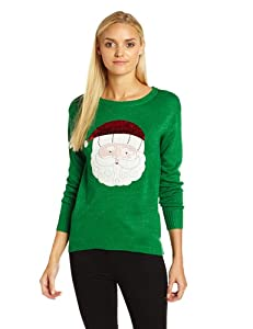 Isabella's Closet Women's Sparkle Santa Embroidered Ugly Christmas Sweater from Isabella's Closet