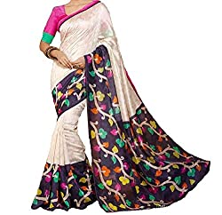 RGR Enterprice Woman's Bhagalpuri Designer Saree (White valley_Multi-Coloured_Free Size)