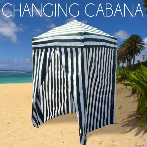 Striped Portable Changing Cabana Tent Patio Beach Pool Green White & Striped Portable Changing Cabana Tent Patio Beach Pool Green White ...