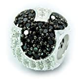 .925 Sterling Silver  Jeweled Mickey - Black and Clear Cz  Charm Bead Spacer Compatible with Snake Chain Bracelets