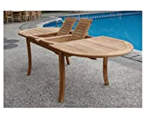 "Big Sale Grade-A Teak Wood Extra Large double extension 117"" Oval Dining Table"