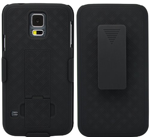 Unlimited Cellular Rubberized Shell Holster Combo With Kickstand For Samsung Galaxy S5 (Black)