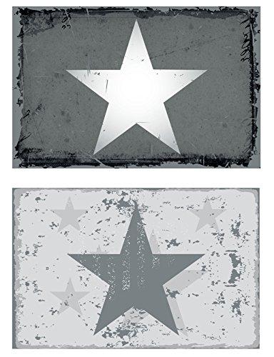 6er-Set-Tischset-Stern-New-Star-grau-Vintage-Platzset-Platzmatte