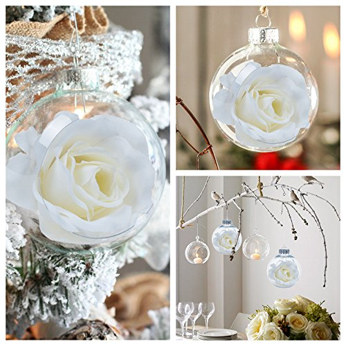 KI Store Clear Balls Plastic Ornaments with White Roses for Wedding Anniversary Decorations Set of 6 (3.15