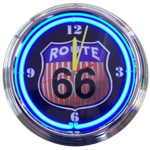Route 66 Round Neon Clock
