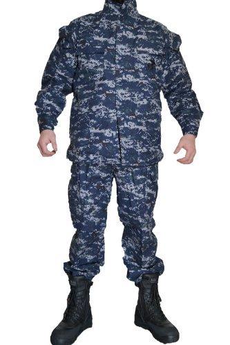 NWU 米海軍 US Navy ネイビー デジタル迷彩 ピクセルブルー デジタルブルー レプリカ BDU 迷彩服 戦闘服 ジャケット&パンツ 上下セット (M)