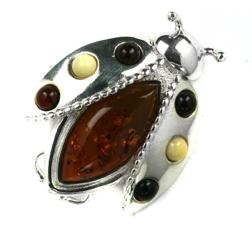 Baltic Honey Amber Sterling Silver Little Museum Collection Lady Bug Pin 19th Century