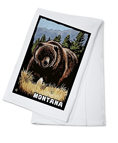 Montana - Grizzly Bear - Scratchboard (100% Cotton Kitchen Towel)