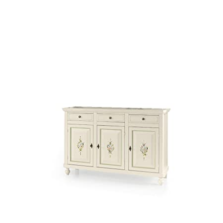 Sideboard, Classic Style, in Solid Wood and MDF with polished white finish and decorated - Dim. 158 x 47 x 103