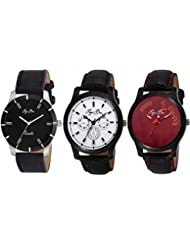 Pappi Boss Pack Of 3 Imported Sober Leather Analog Combo Deal Casual Wrist Watches For Men, Boys
