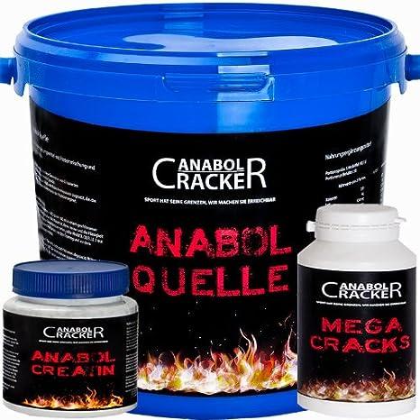 Anabol Quelle, Mehrkomponenten Whey Protein, 2270g Eimer, Coockies, Eiweißpulver Shake + Anabol Creatin, 300g Monohydrat + 90g Mega Cracks Testo Booster Poulver