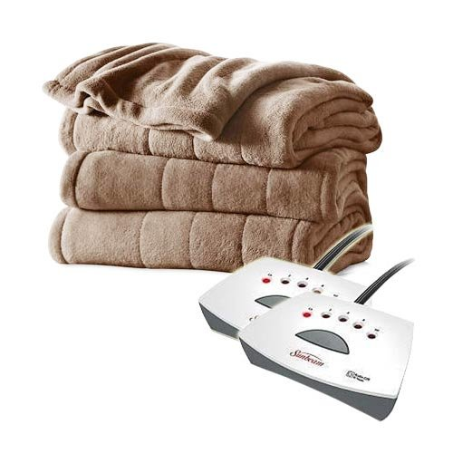 Sunbeam Channeled Velvet Plush Electric Heated Blanket Full/Queen Mushroom Beige (Electric Blanket Queen compare prices)