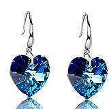TinkSky Fashion Heart shaped Pure Silver Crystal Earrings Ear Pendants for Women One Pair Blue