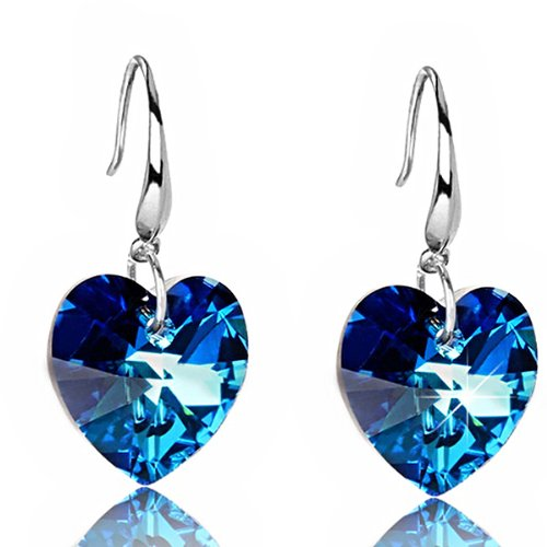 TinkSky Fashion Heart-shaped Pure Silver Crystal