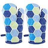 Suam Cotton Blue Printed Gloves Pack Of 2