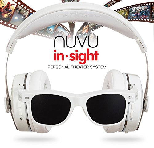 NUVU IN-SIGHT HEADPHONES WITH HD VIDEO GLASSES - VIEW UNLIMITED CONTENT FOR APPLE & ANY DEVICE THAT USES HDMI - WHITE (Mobile Theater Video Glasses compare prices)
