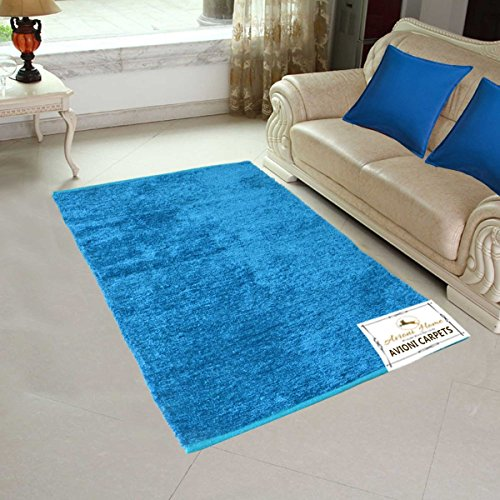 Avioni Handloom Rugs Carpets For Living Room Solid Colors Blue-3 Feet X 5 Feet
