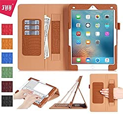 iPad Pro 9.7 case, FYY[Full Protection]Premium PU Leather Case with Card Slots, Note Holder, Hand Strap for iPad Pro 9.7 inch (2016) Light Brown
