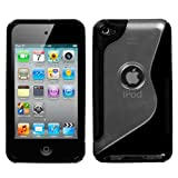 MyBat Apple iPod Touch 4G Gummy Cover - Transparent Clear/Solid Black (S Shape)